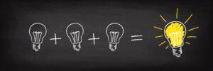 3 lyspærer blir til en idèe