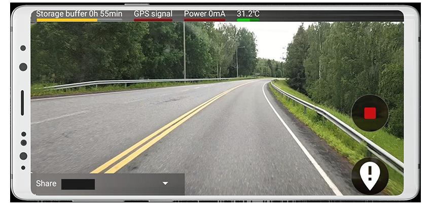 RoadAI i en mobil mockup