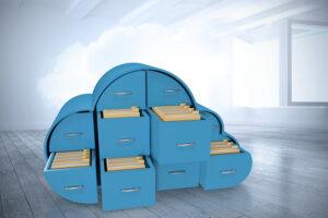 Sammensatt bilde av blå skuffer i skyform med mapper