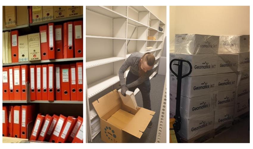 Arkiv pakkes ned i arkivesker og fraktes til Geomatikk IKT for digitalisering
