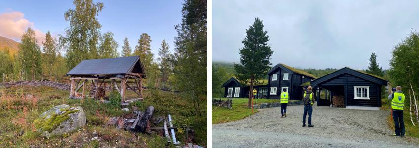 Besiktigelse i Lesja kommune_besiktigere foran hytter