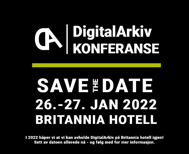 Boks med tekst - DigitalArkiv 2022 - Save the date