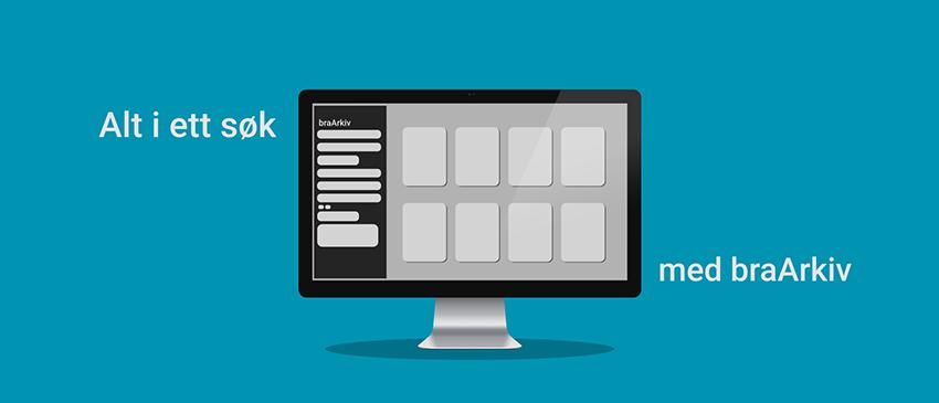 Grafisk bilde - blå bakgrunn med PC-skjerm - braArkiv