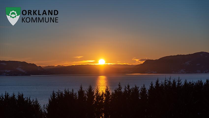 Landskapsbilde - solnedgang i Orkland