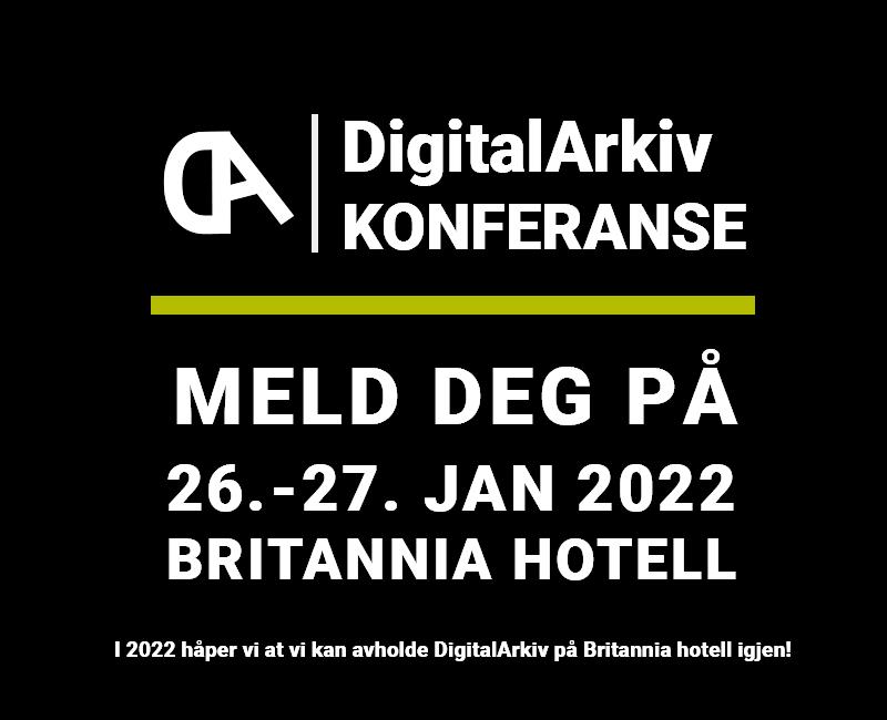 Boks med tekst - DigitalArkiv 2022 - Meld deg på