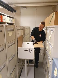 Oppfølging under pakking av arkivet